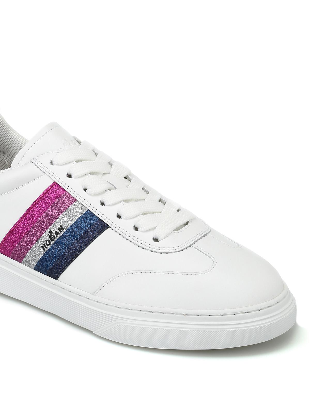 Trainers Hogan - H365 glitter logo band white sneakers ...