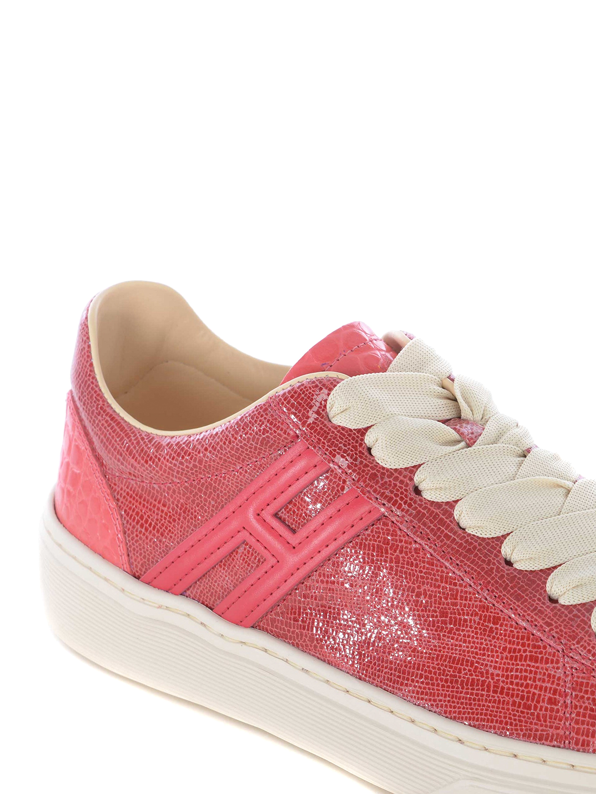 Trainers Hogan - H365 sneakers in red reptile print leather ...