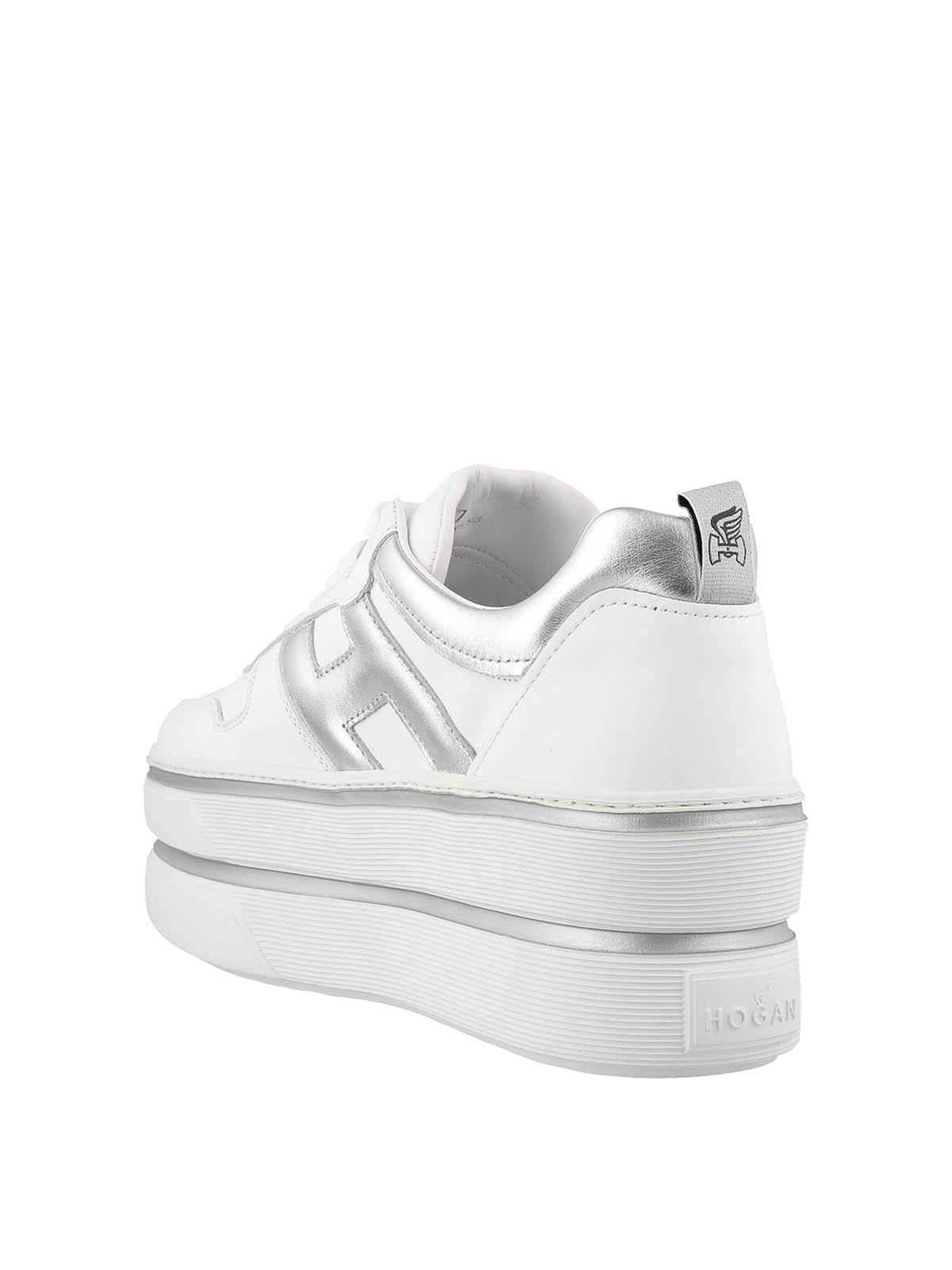 Sneakers Hogan - Sneaker H449 in pelle bianca e argento ...