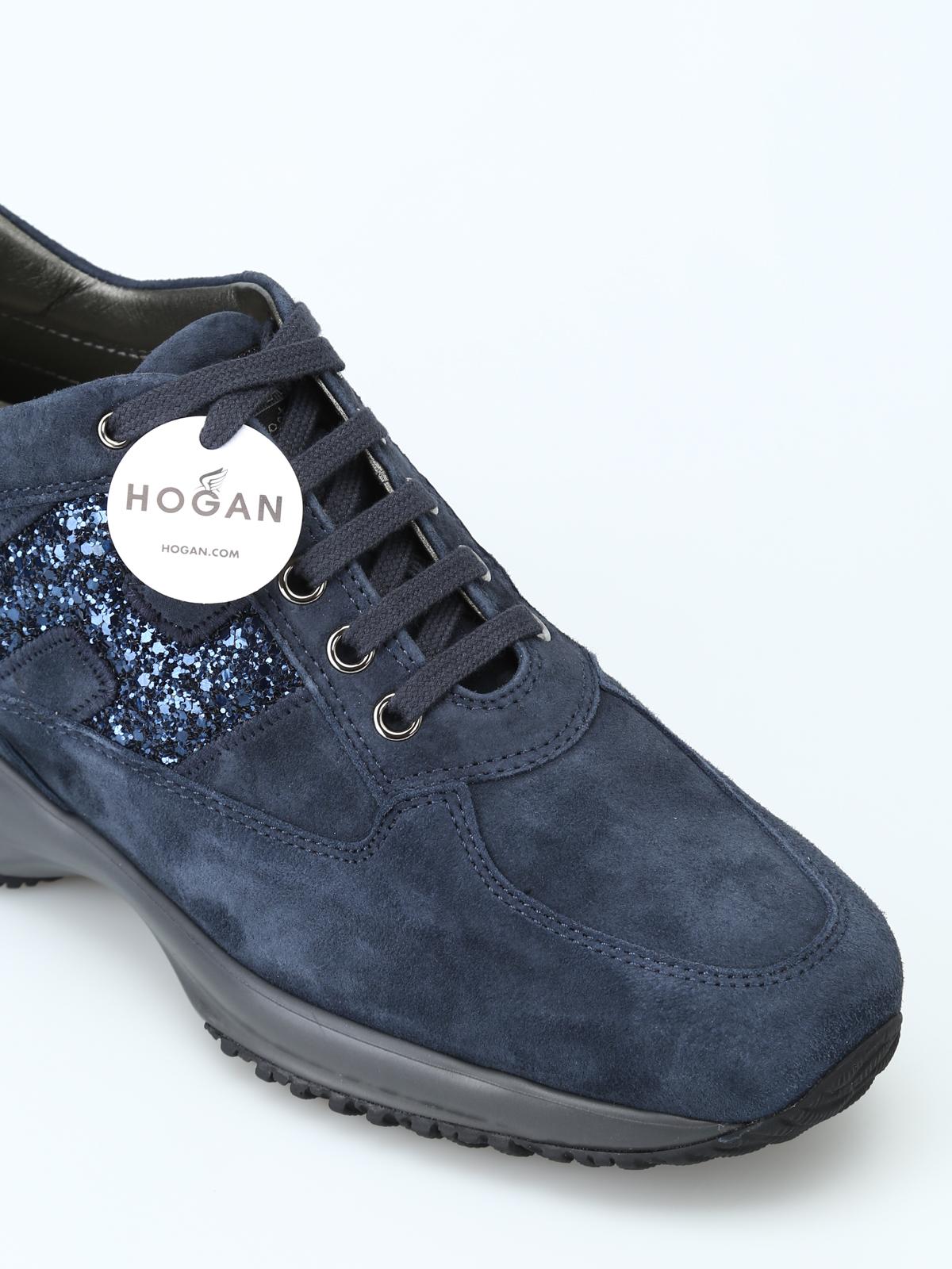 Trainers Hogan - Interactive blue suede sneakers - HXW00N0S3609KE1001