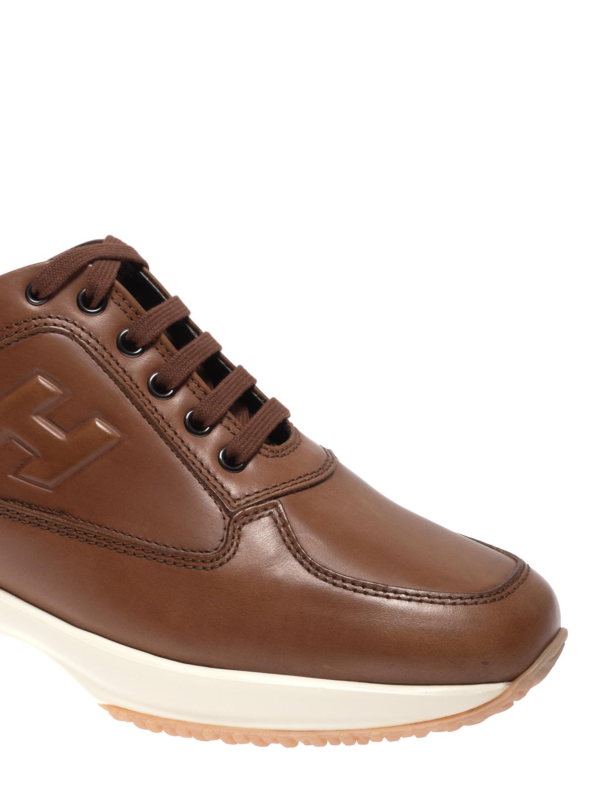 Sneakers Hogan - Sneaker Interactive in pelle marrone ...