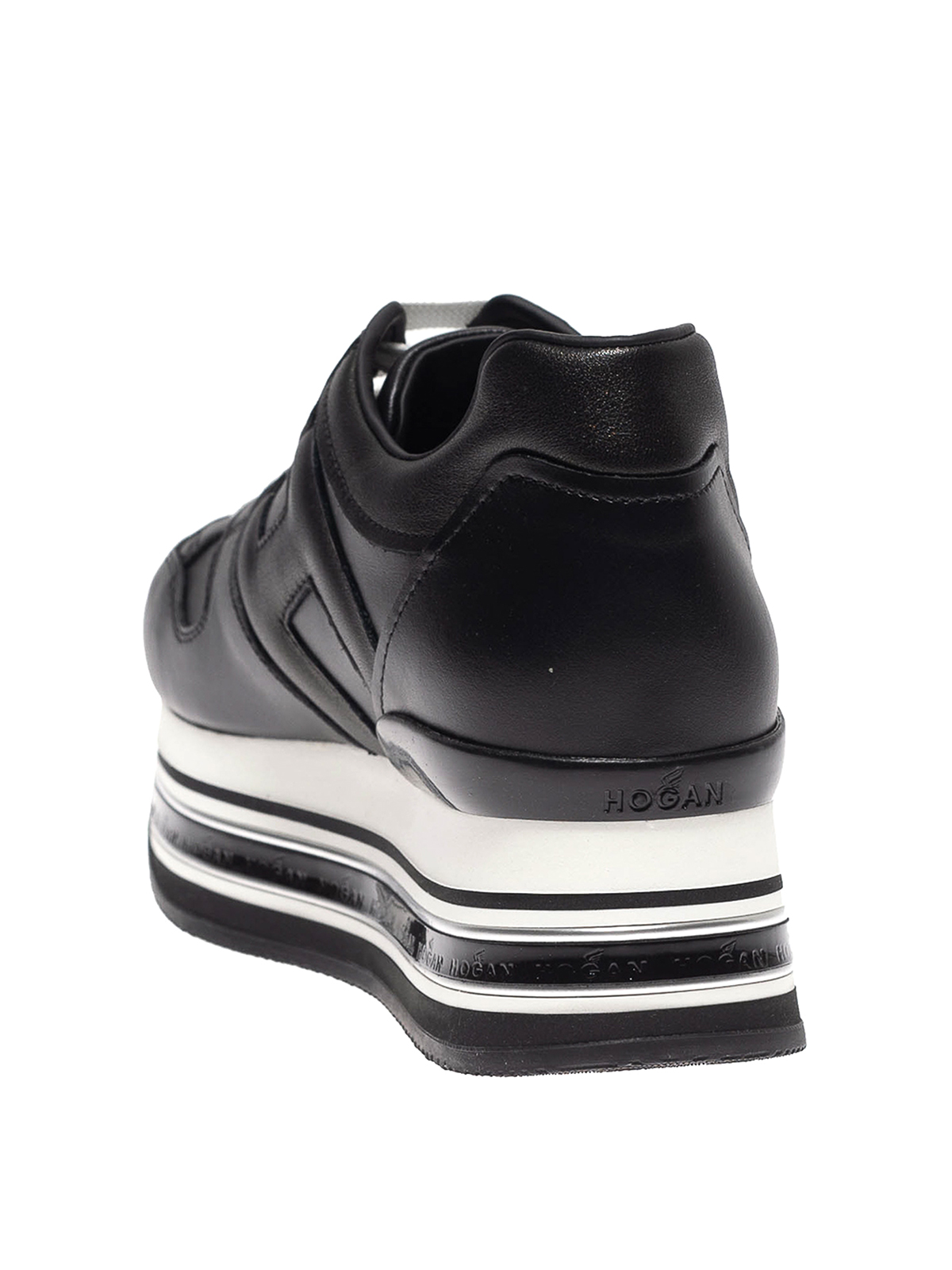 Trainers Hogan - Maxi H222 black leather sneakers - HXW5030T548N7XB999