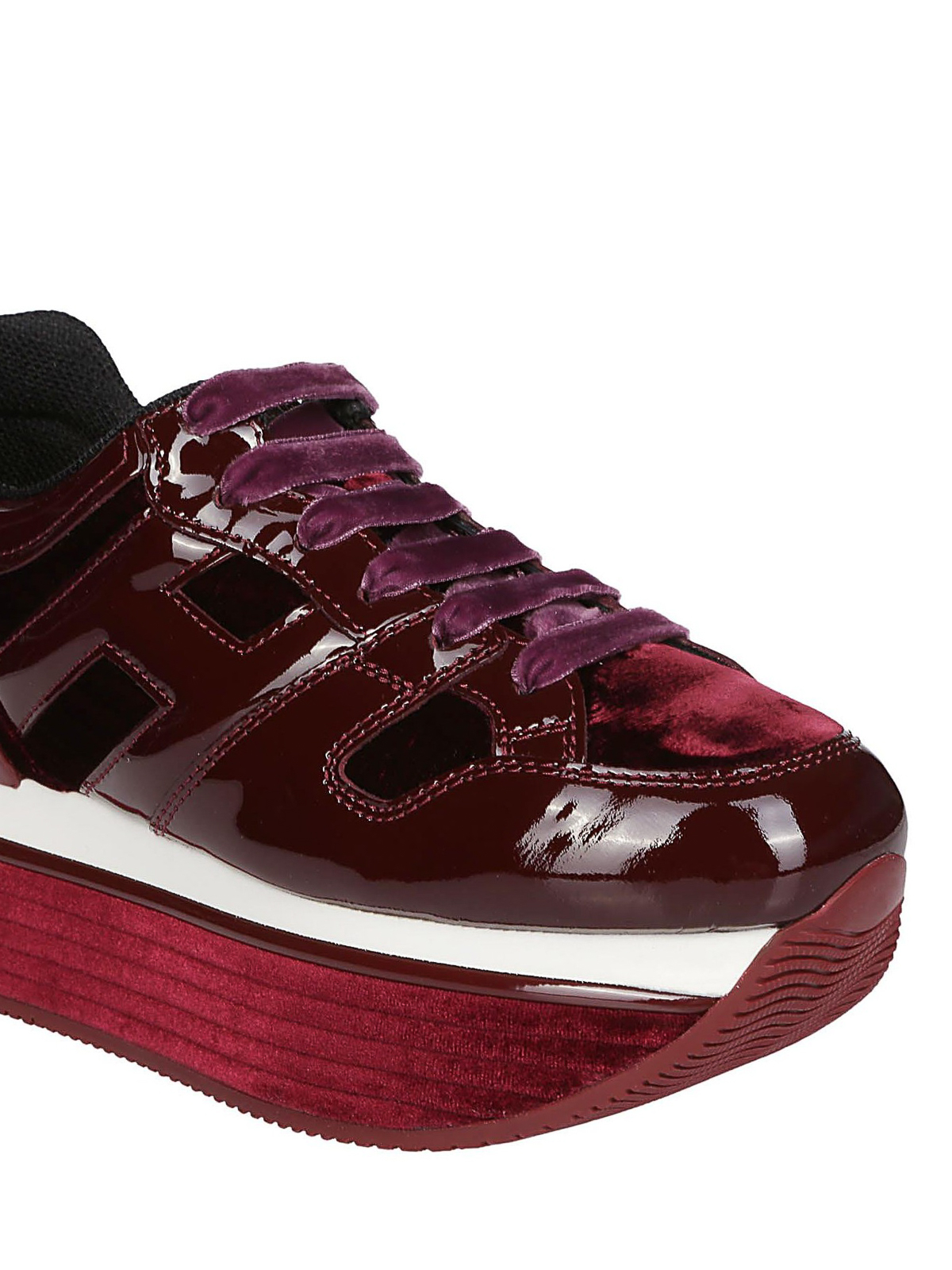 Trainers Hogan - Maxi H222 burgundy patent and velvet sneakers ...