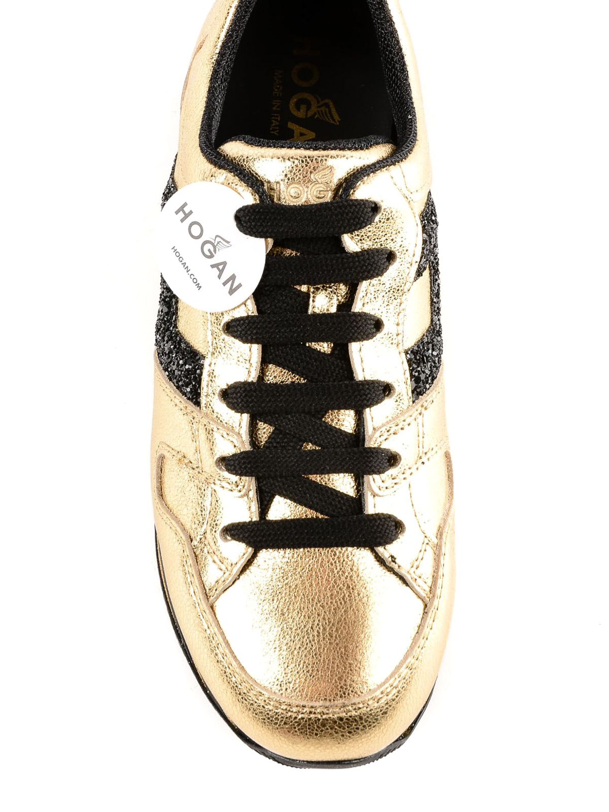 Trainers Hogan - Maxi H222 gold leather sneakers - HXW3680T548JHD417D