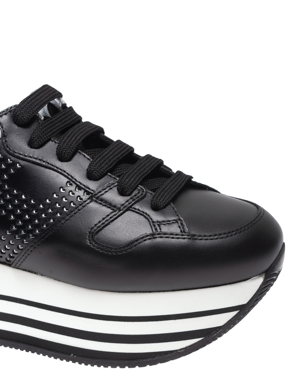Trainers Hogan - Maxi H222 studded black leather sneakers ...