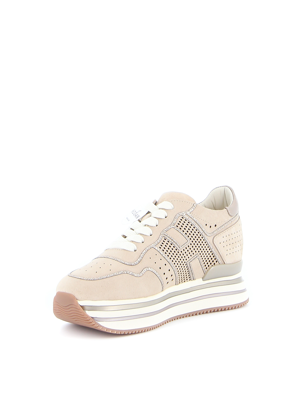 Hogan - Midi H222 glitter drilled suede sneakers - trainers ...