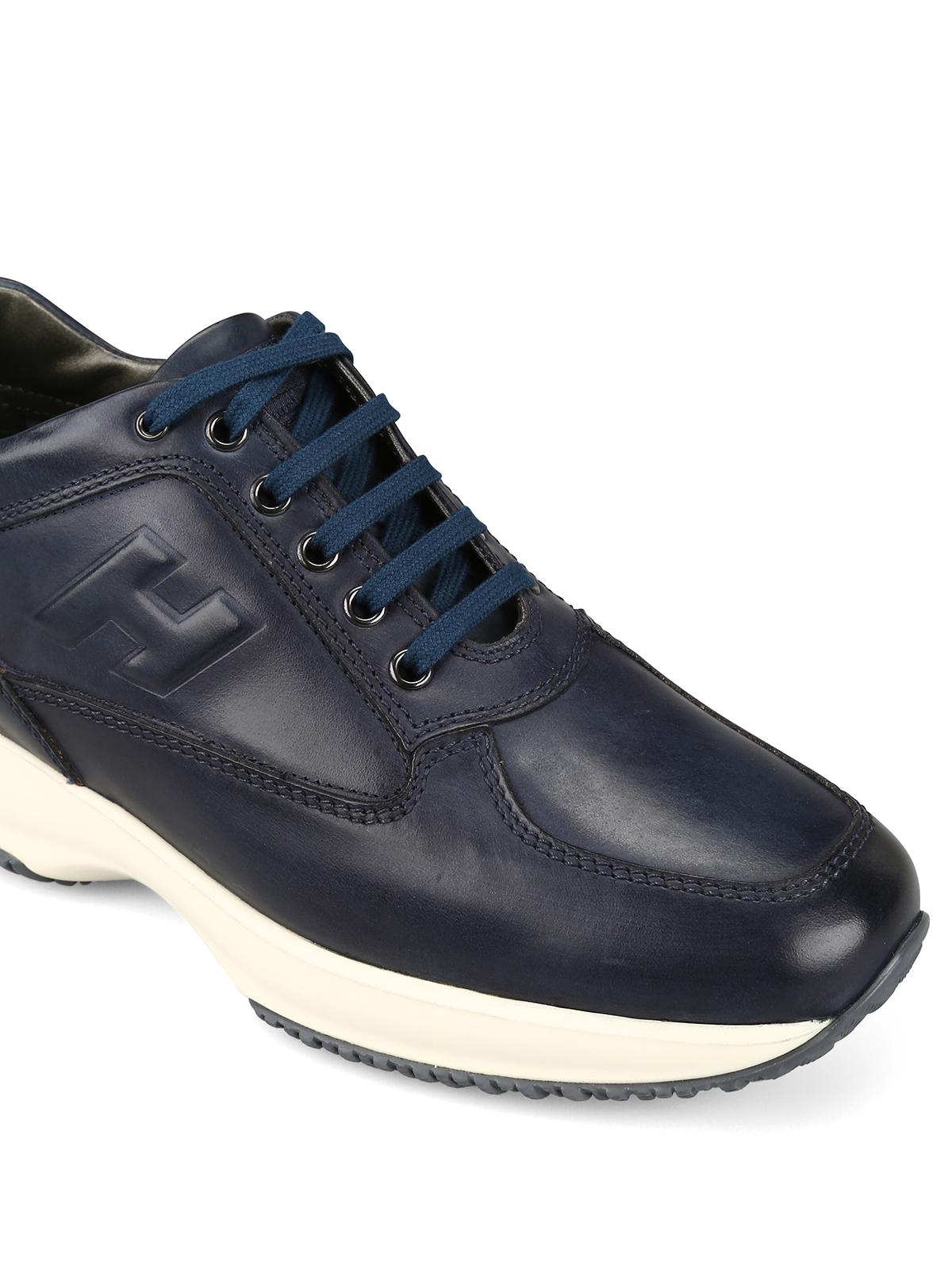 Sneakers Hogan - Sneaker Interactive blu in pelle - HXM00N09041KBOU801