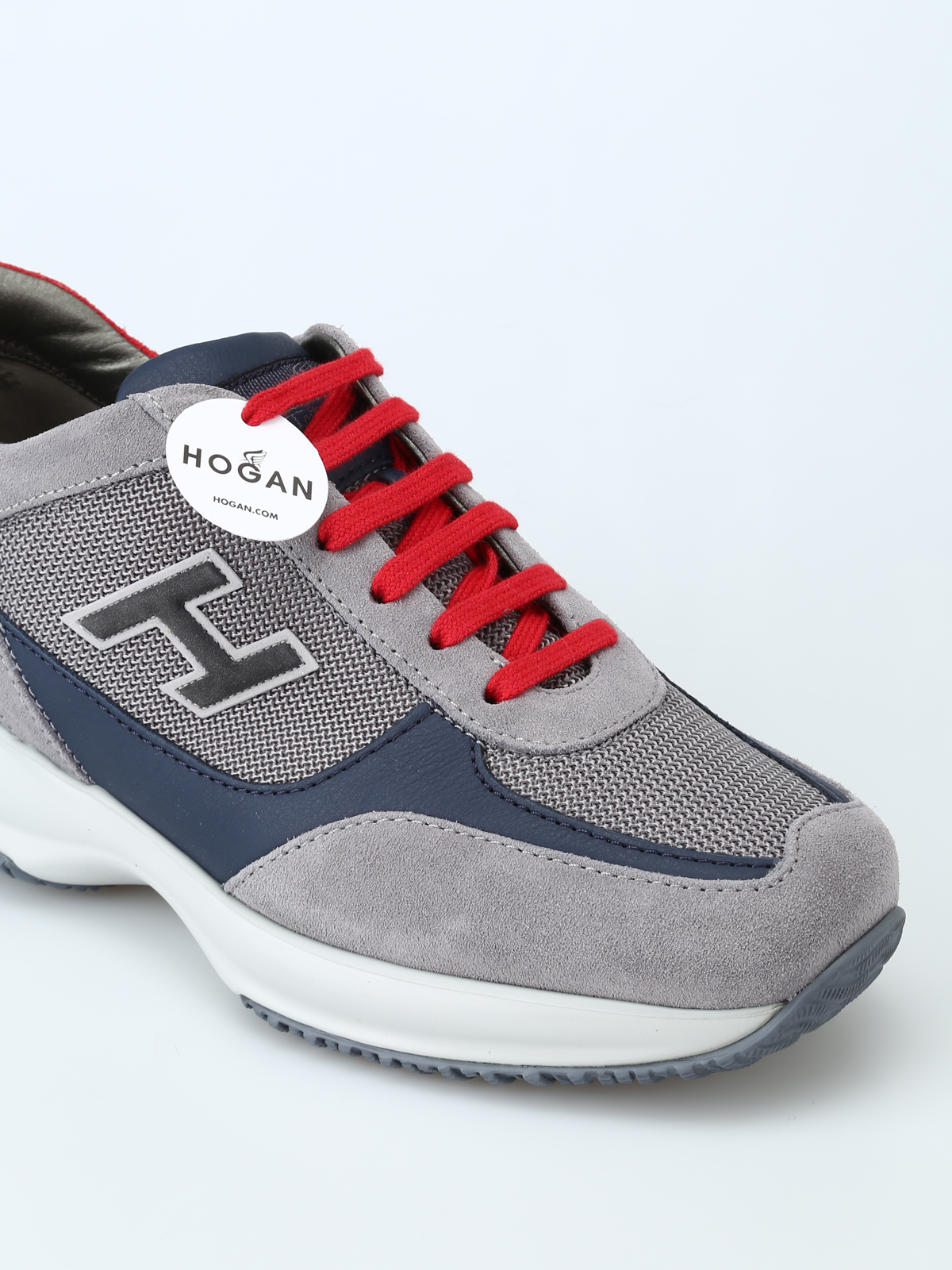 Trainers Hogan - New Interactive H Flock grey and red sneakers ...