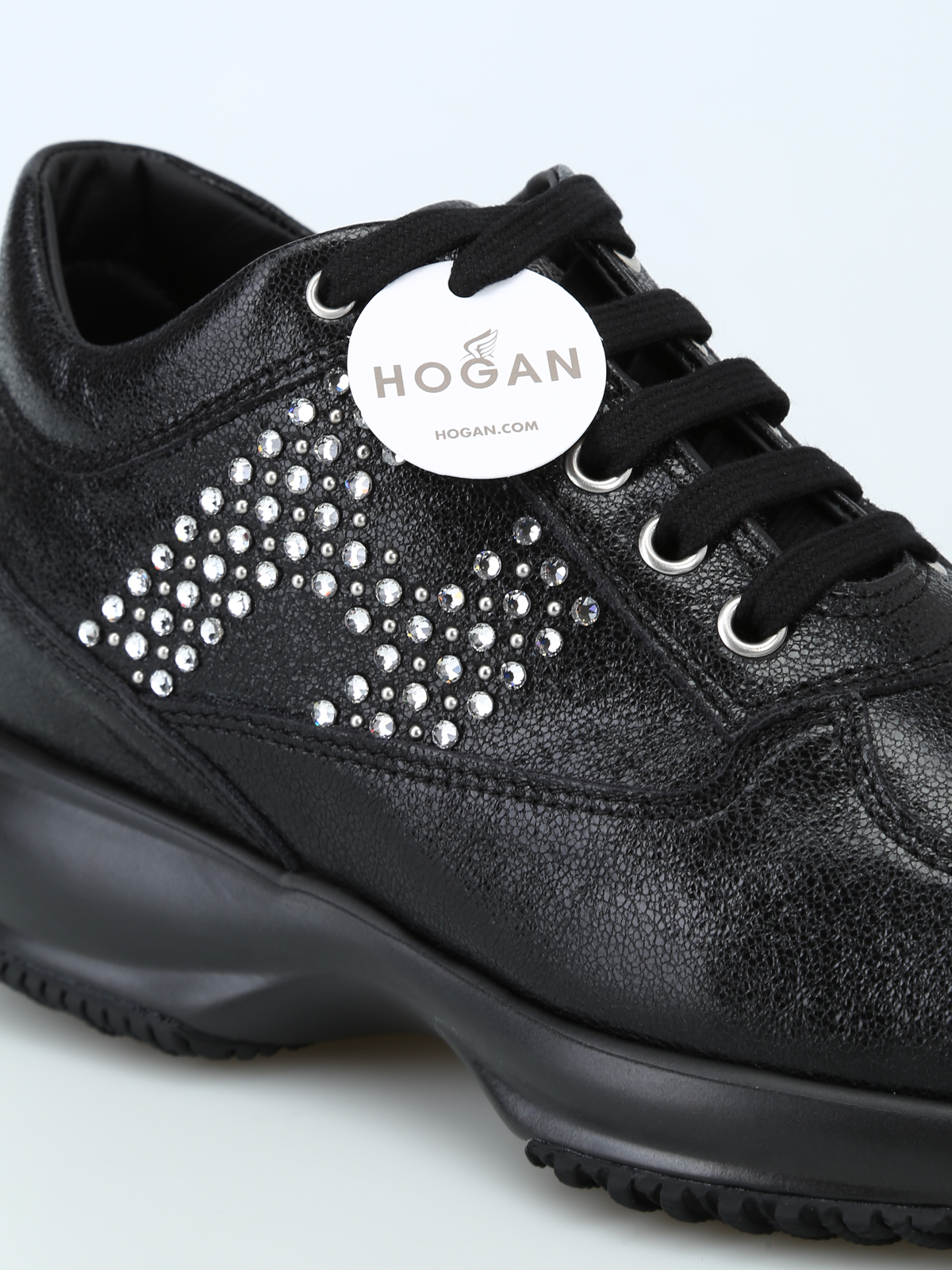 Hogan - Strass monogram crackle leather Interactive - trainers ...
