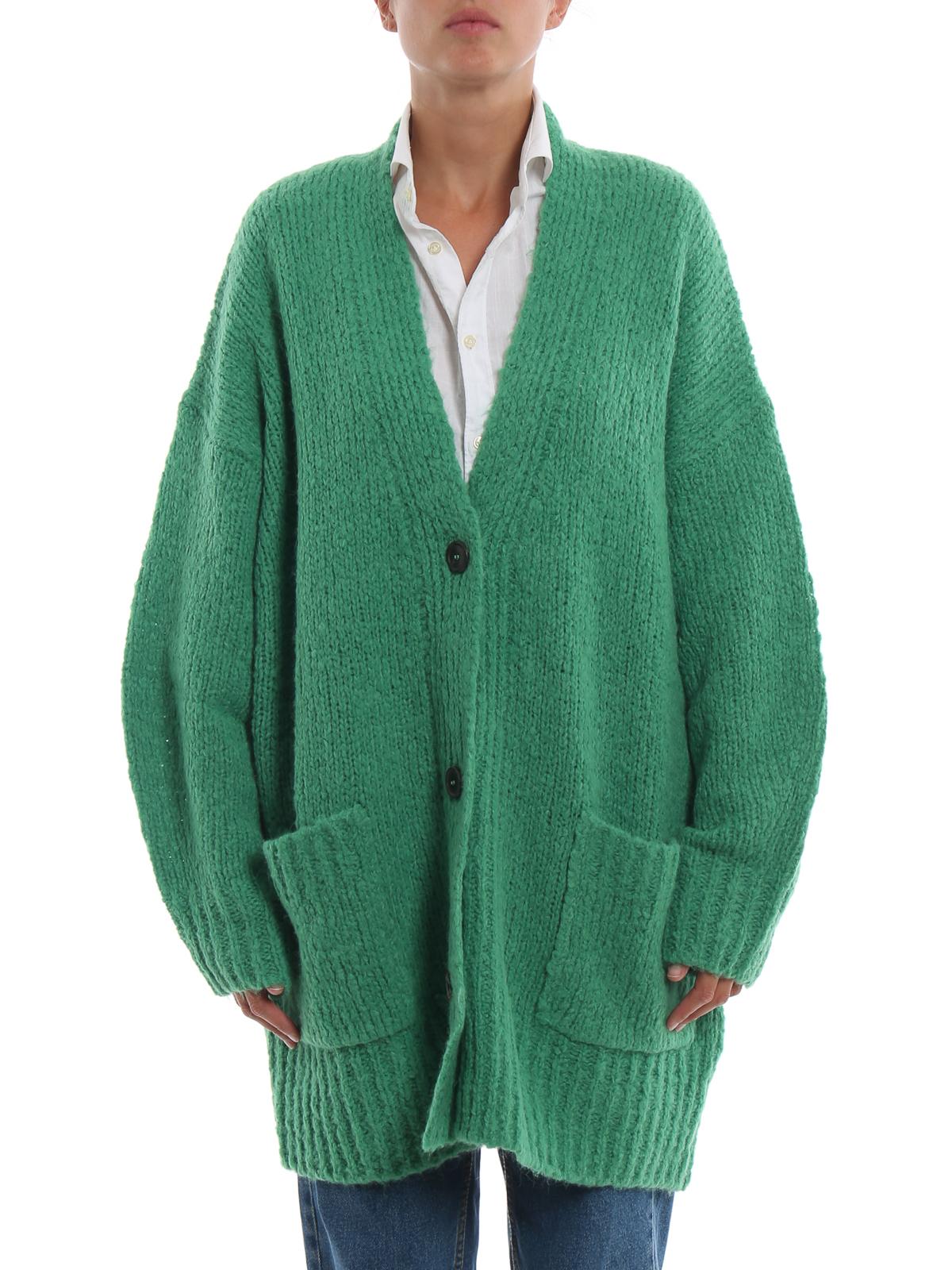 iKRIX Isabel Marant Etoile  cardigans - Sadlery green alpaca blend long  cardigan abbdd0640