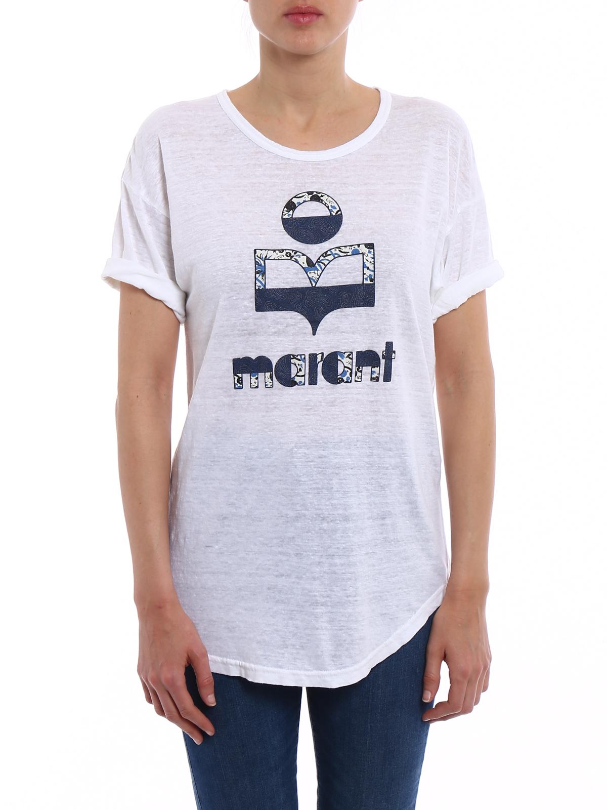 d228e24dfaa7b iKRIX Isabel Marant Etoile  t-shirts - Koldi white linen printed T-shirt