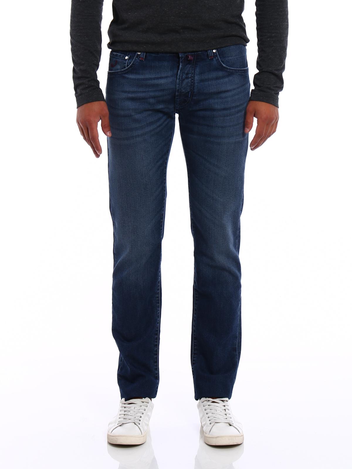 Check label faded denim jeans by jacob cohen straight - Jacob cohen denim ...