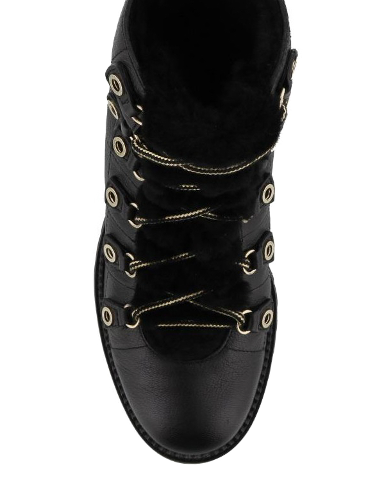 d4e97091a94c iKRIX JIMMY CHOO  ankle boots - Black leather and shearling flat ankle boots
