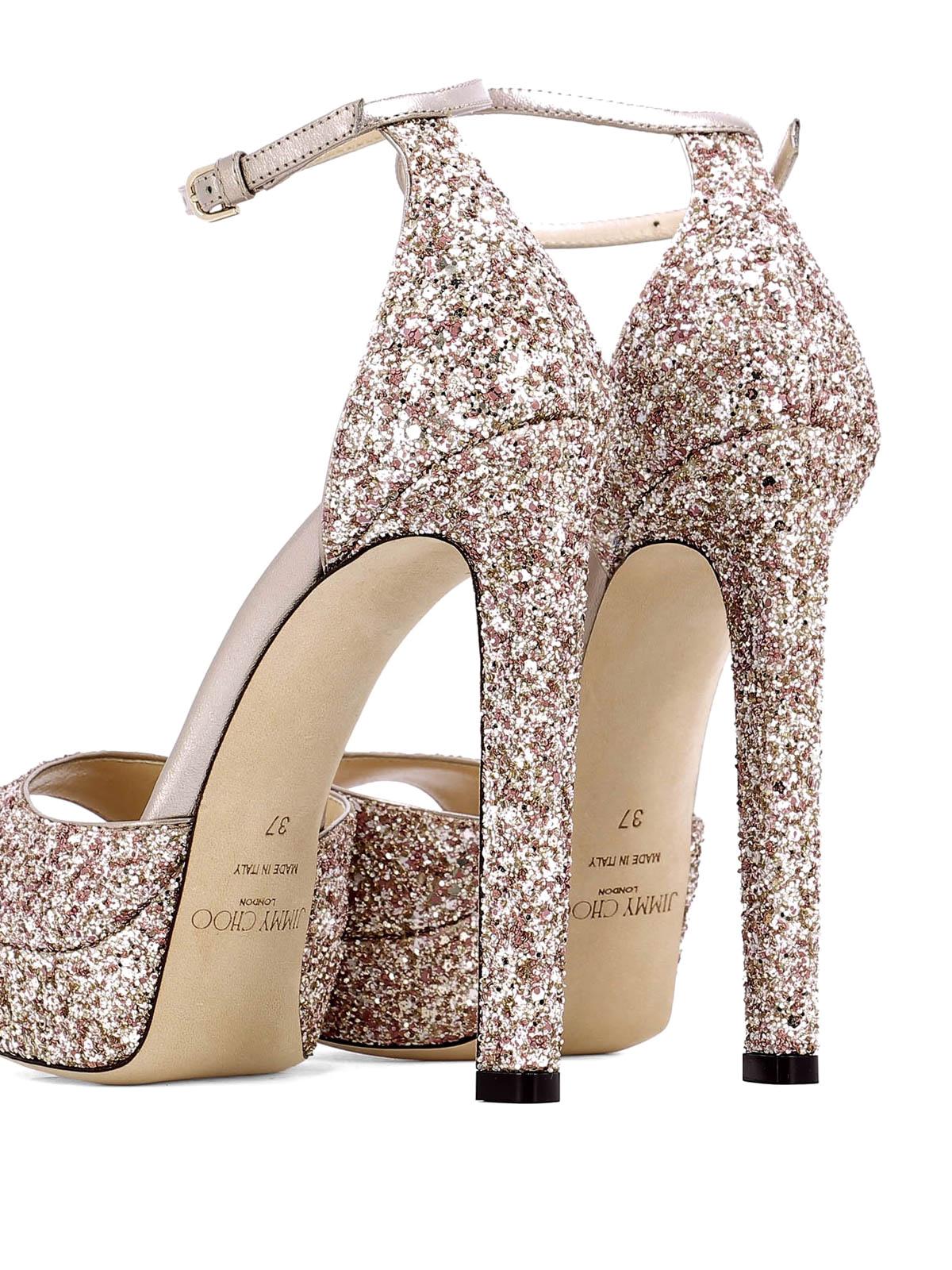 37987f883d9 iKRIX JIMMY CHOO  court shoes - Pattie 130 pink glitter platform sandals