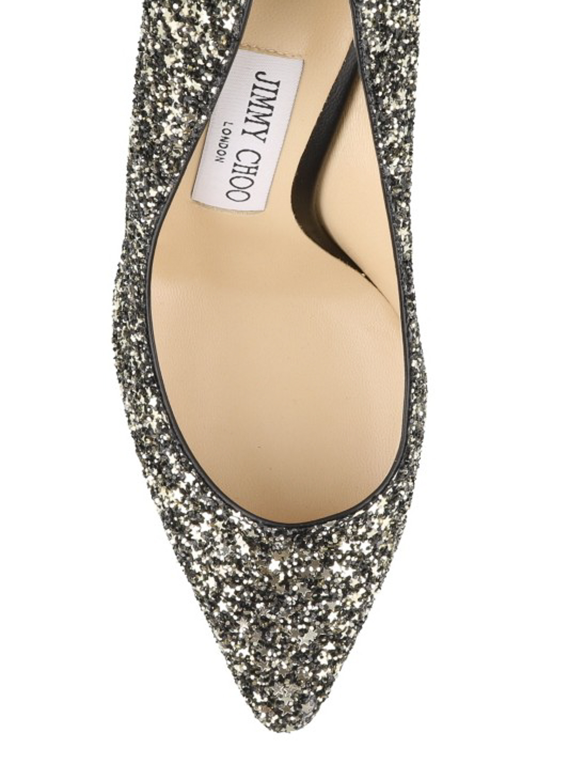 Romy 100 gold and black glitter pumps