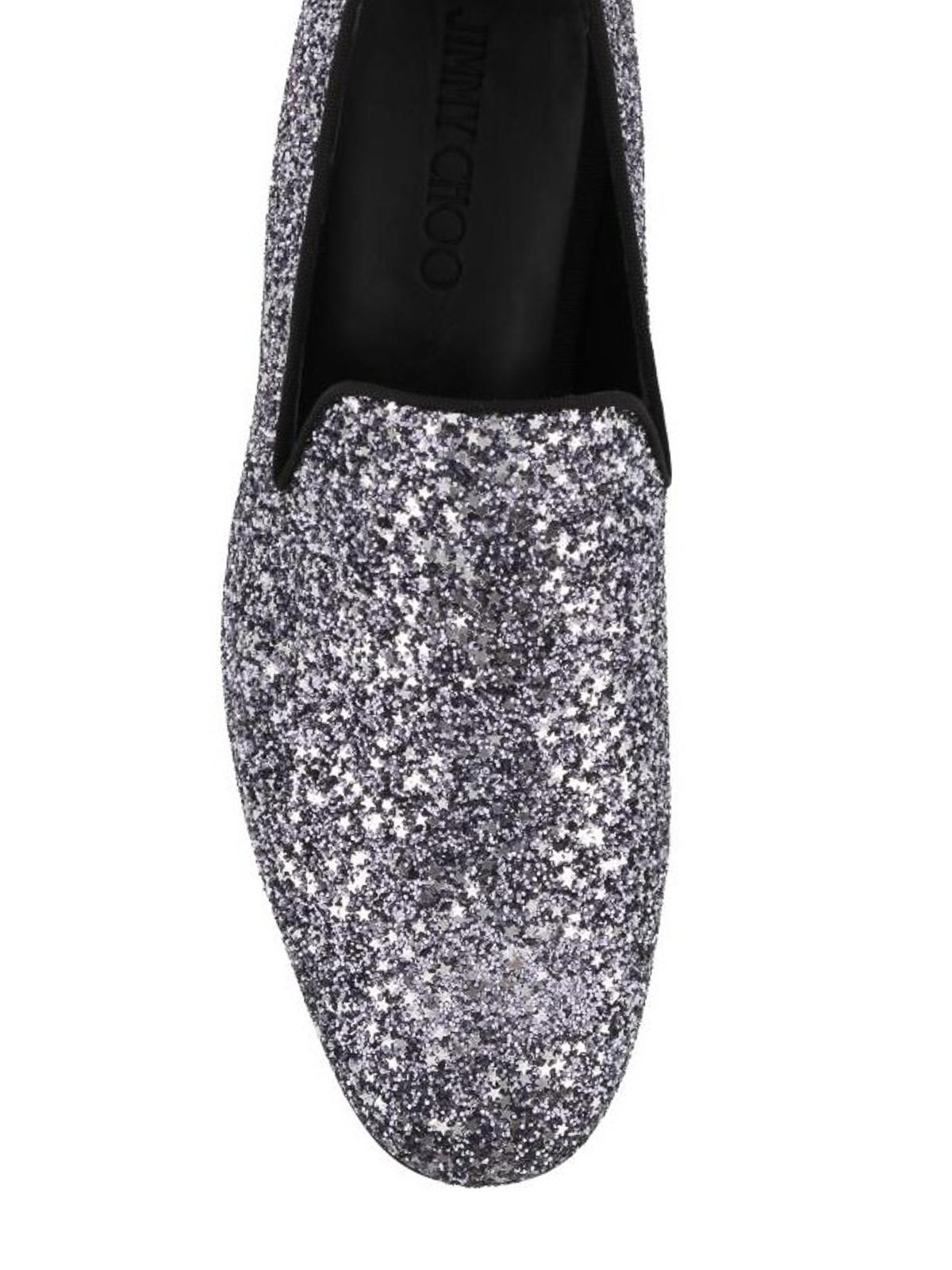 401e51715f69f iKRIX JIMMY CHOO: Loafers & Slippers - Marlo gunmetal coarse glitter shoes