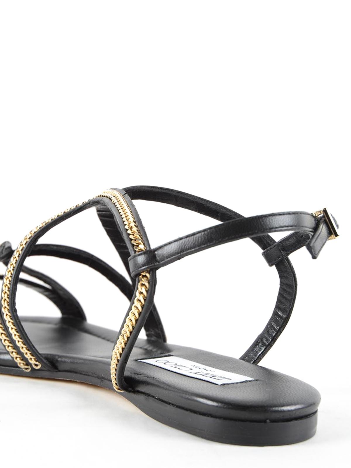 40d7c4779c2 Jimmy Choo - Nickel Flat sandals with chain - sandals - NICKEL FLAT ...