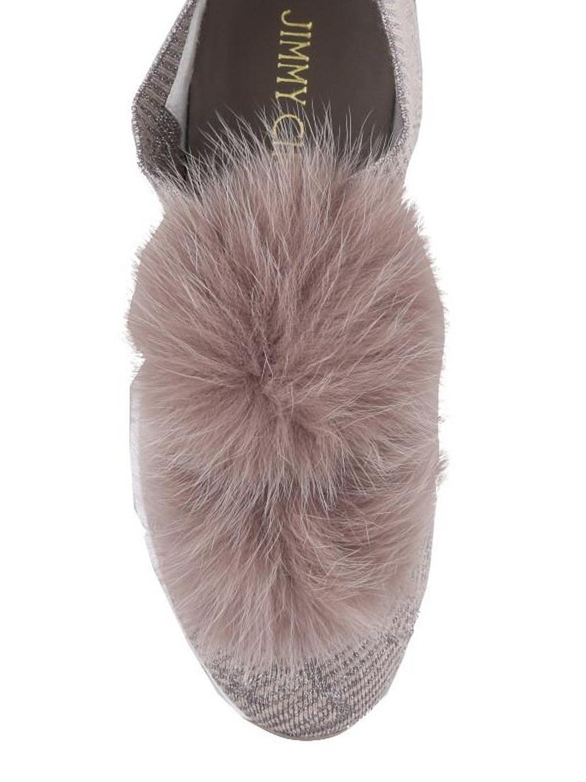 96706a2221dd iKRIX JIMMY CHOO  trainers - Norway fox fur pompom slip-on shoes