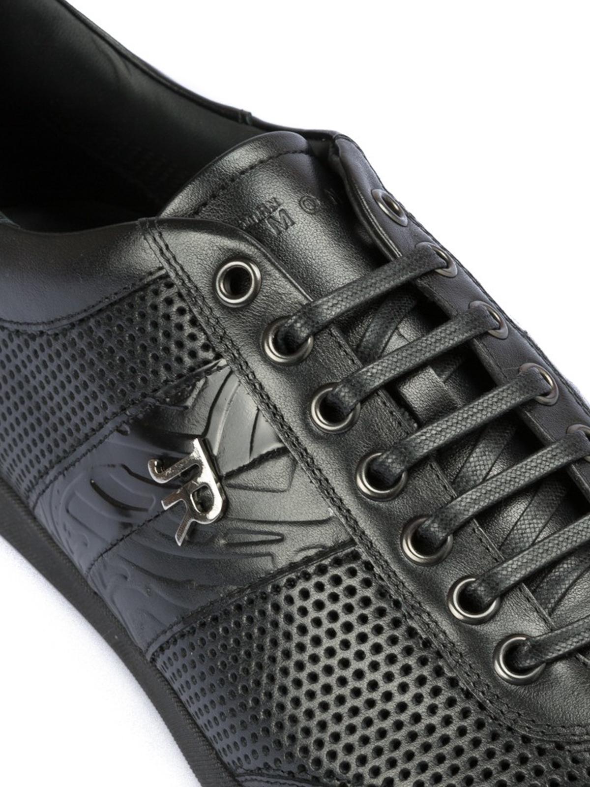 John Richmond - Sneaker nere in pelle traforata - sneakers - 4170 B 560a0f50f7b