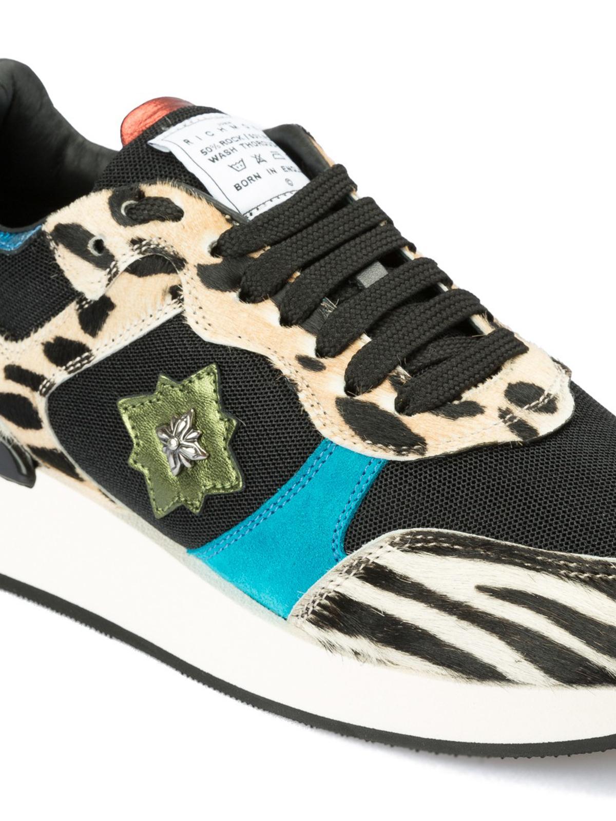 John Richmond - Rock  n  Roll fabric and calf hair sneakers ... f3a2ba8e0d53