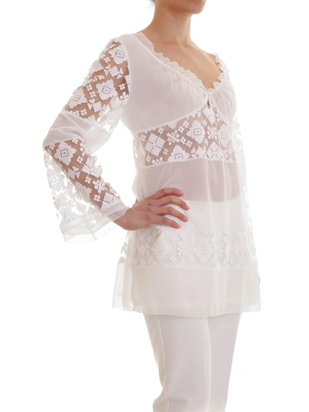 sale retailer d85b8 e3b07 Just Cavalli - Camicia bianca con inserti di pizzo - tuniche ...