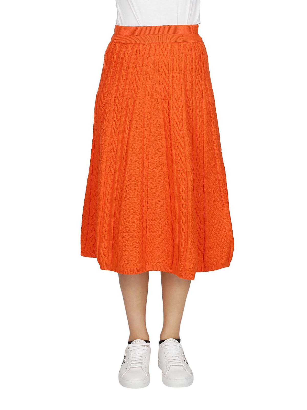 f7c273539a iKRIX KENZO: Knee length skirts & Midi - Cable knit wool blend pleated skirt