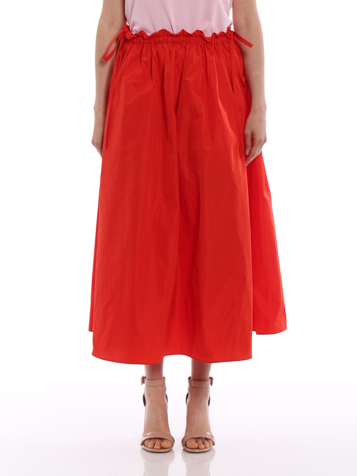 54b2cabe8e iKRIX KENZO: Knee length skirts & Midi - Solid red satin circle long skirt