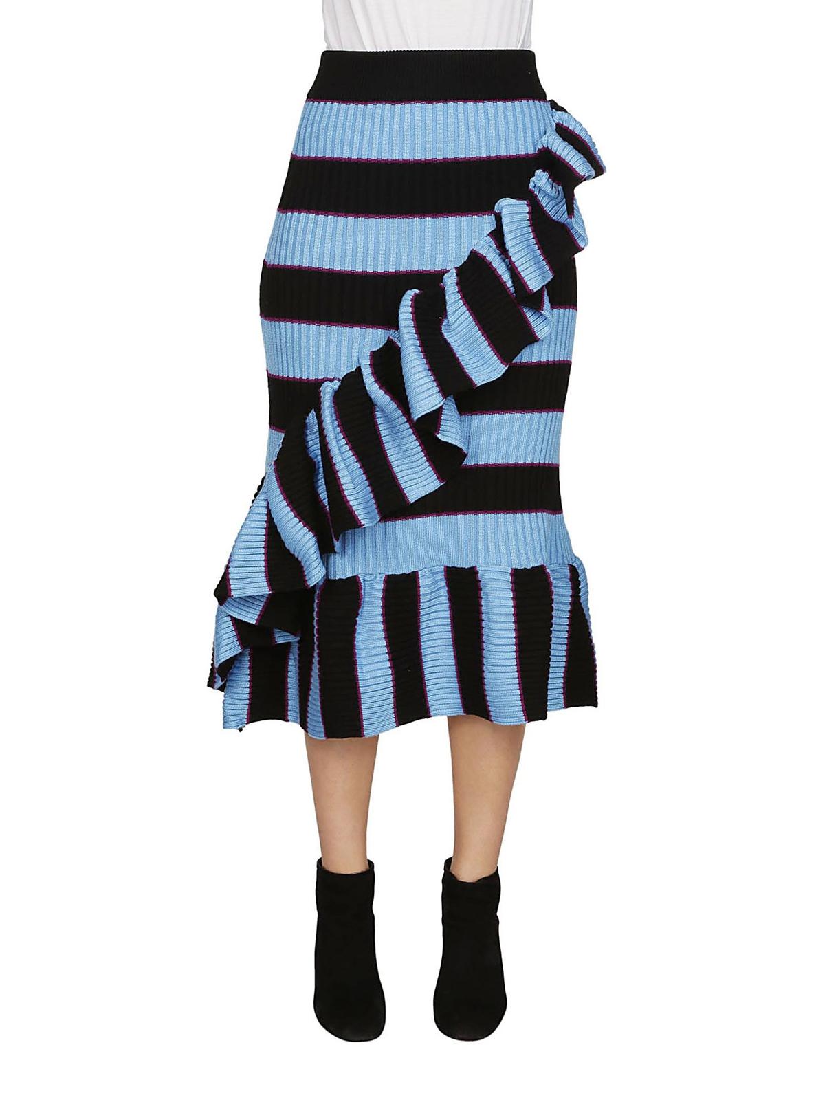 89e53e5111 Kenzo - Striped knit wool blend ruffled skirt - Knee length skirts ...