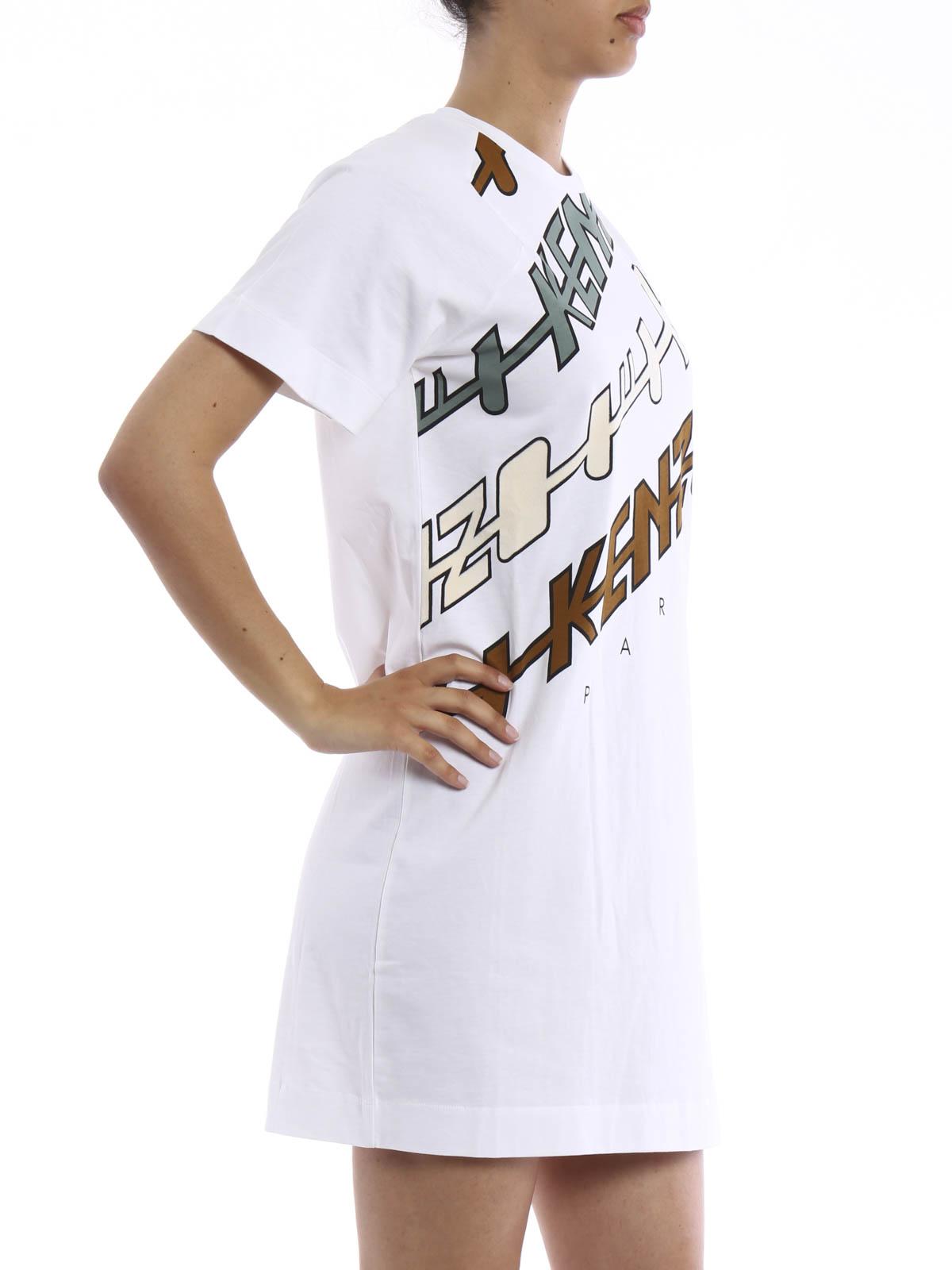Cotton T-shirt dress by Kenzo - short dresses | iKRIX
