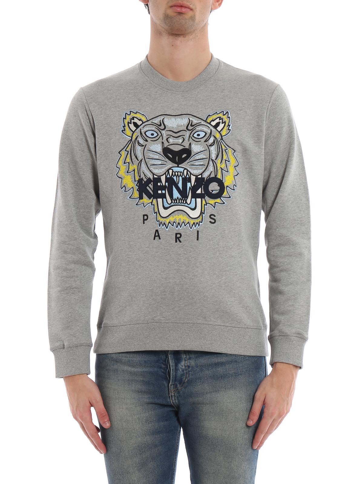 iKRIX KENZO  Sweatshirts   Sweaters - Pearl grey cotton Tiger classic  sweatshirt 11d002f9cb4