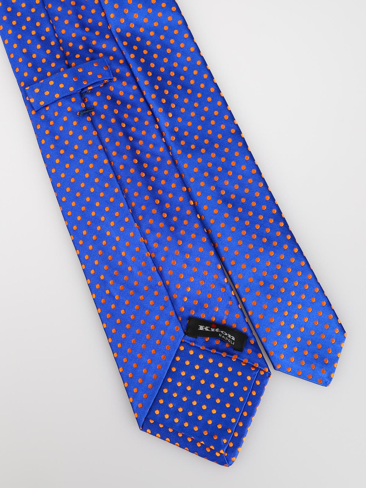 7f35291d7db5 Kiton - Blue and orange polka-dot silk tie - ties & bow ties - 5F212
