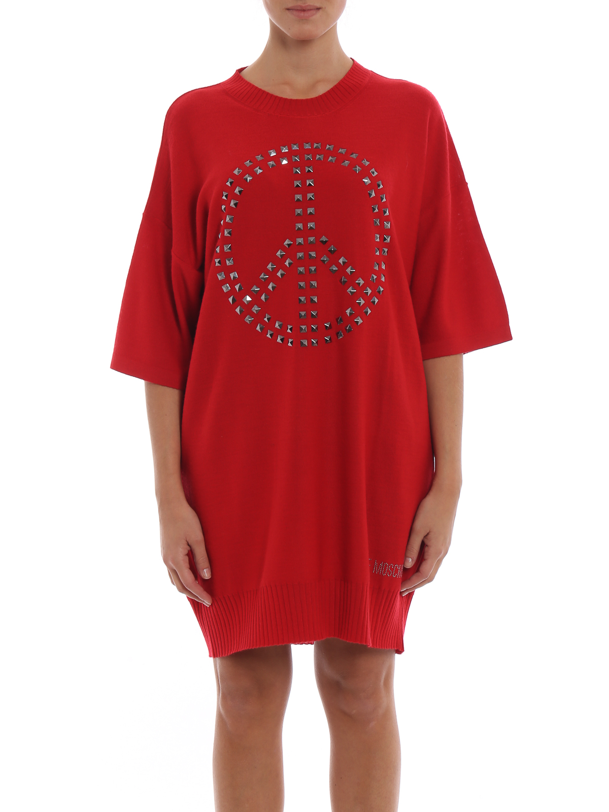 Genou Robe Au Love Moschino Rouge Longueur knPXwO80