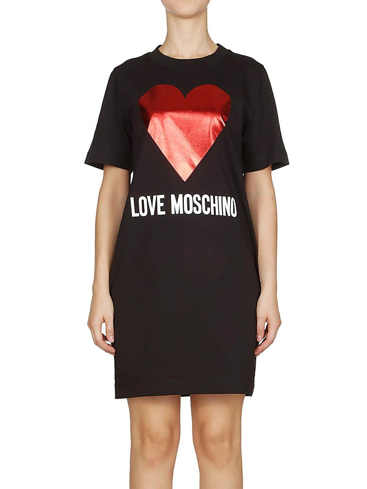 separation shoes 60945 0c151 Love Moschino - Abito felpa con cuore in jersey di cotone ...