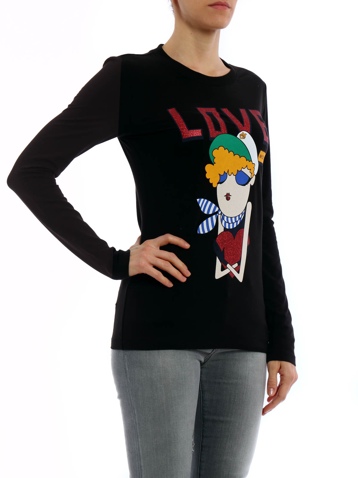 Doll print long sleeved t shirt by love moschino t for Print long sleeve shirt