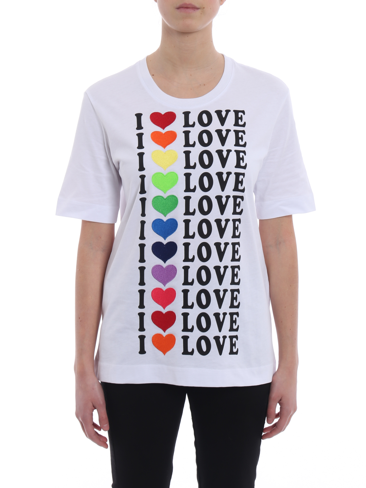 4dee057801f92b iKRIX LOVE MOSCHINO: t-shirts - Multicolour heart patches T-shirt
