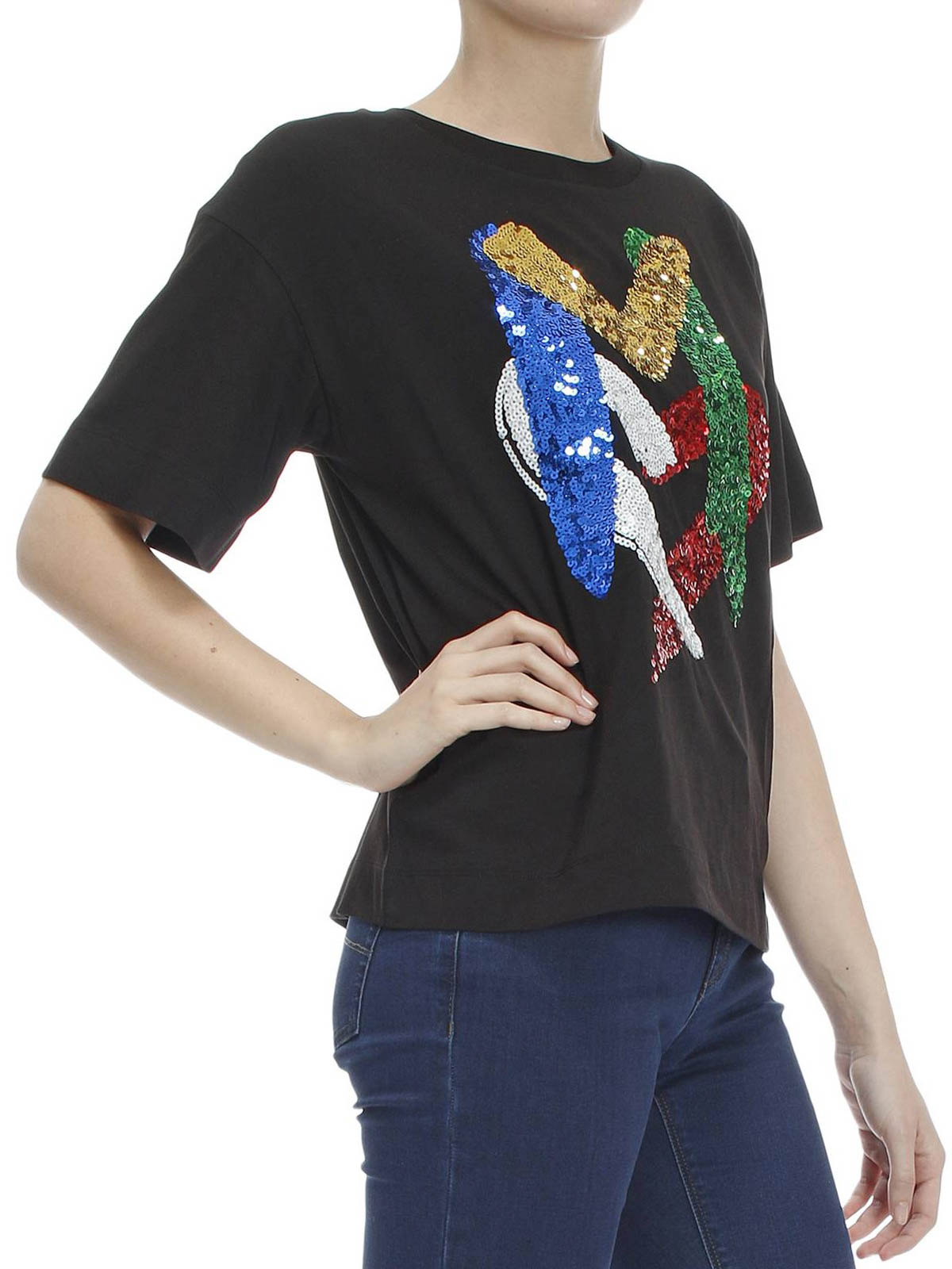 d1c1fc643 iKRIX LOVE MOSCHINO: t-shirts - Sequin logo oversize T-shirt