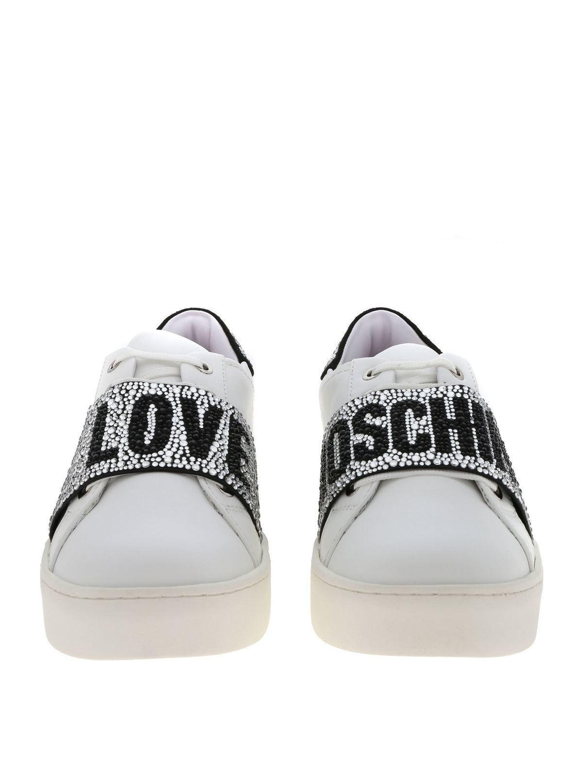 White sneakers with rhinestone band