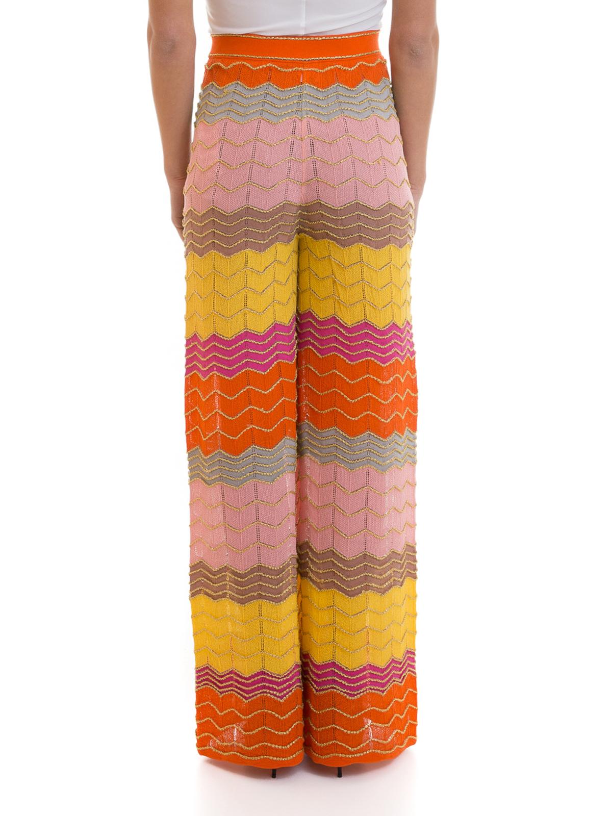 vasta gamma di meticolosi processi di tintura design di qualità M Missoni - Pantaloni palazzo con onde e lurex - pantaloni ...
