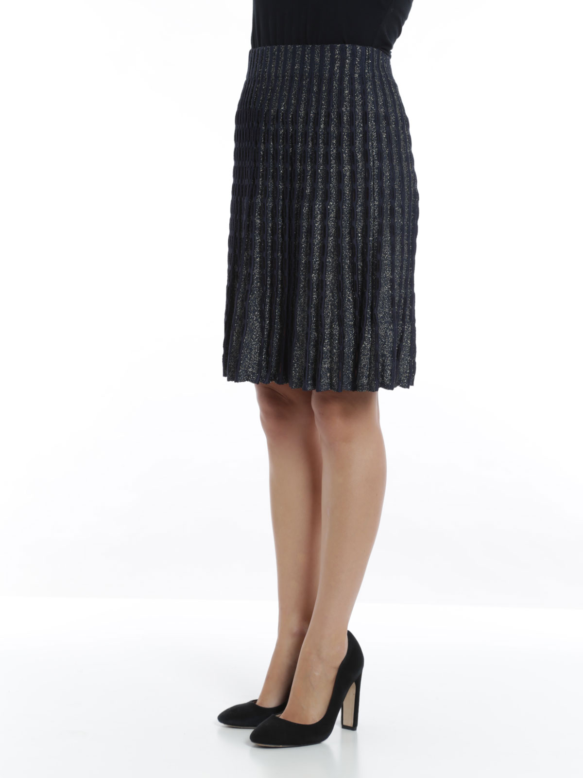 pleated knitted skirt by m missoni knee length skirts