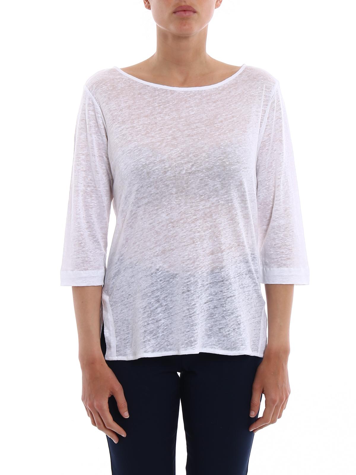 iKRIX Majestic Filatures: t-shirts - White linen boat neck T-shirt