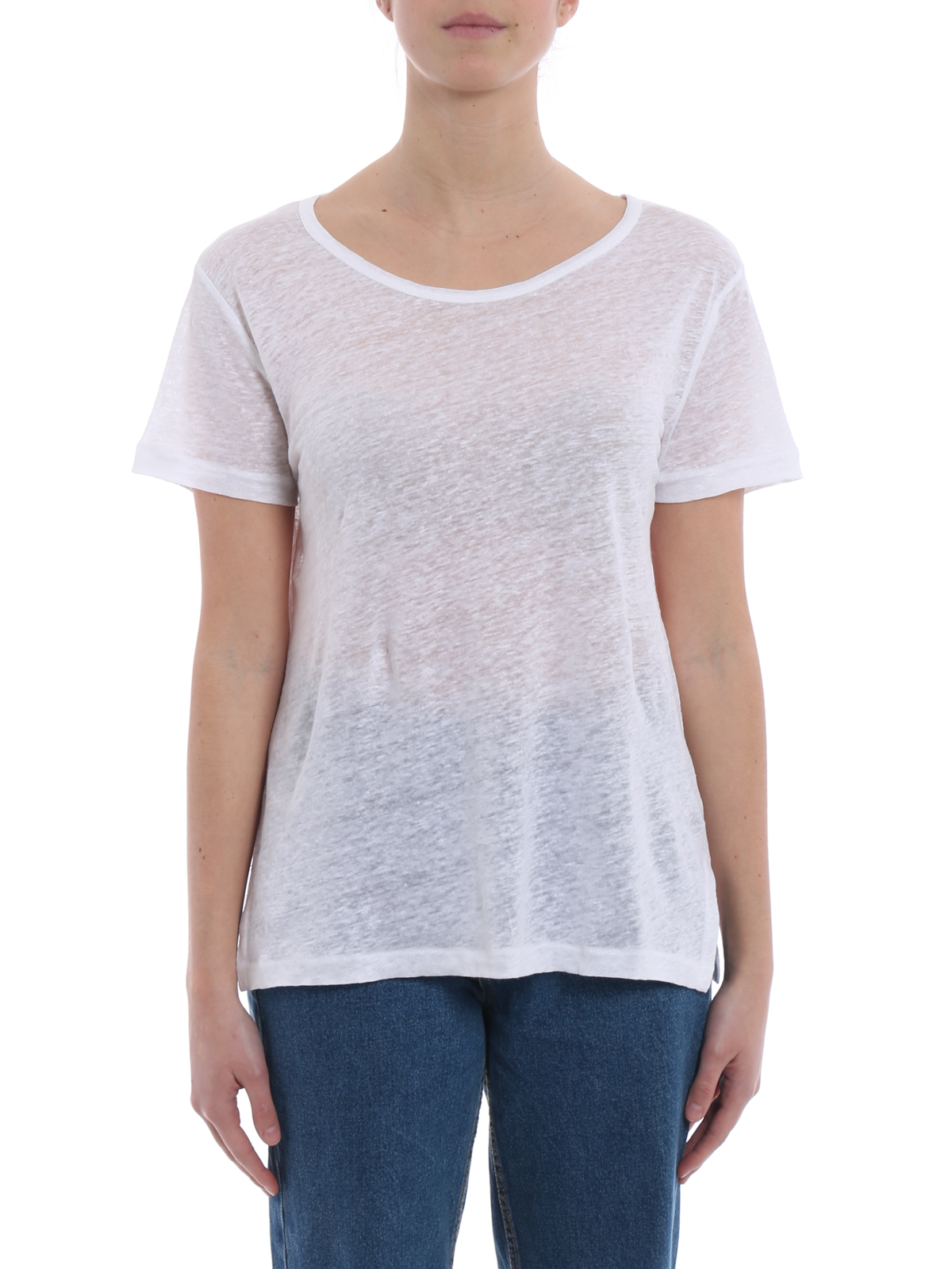 iKRIX Majestic Filatures: t-shirts - White linen scoop neck T-shirt
