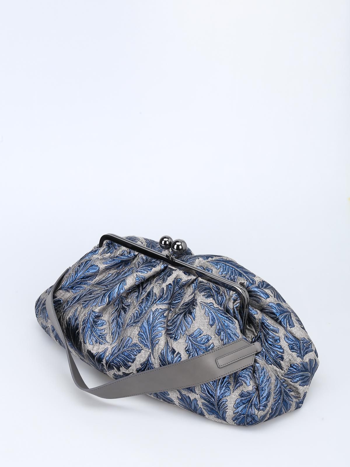 iKRIX Max Mara  pochette - Pasticcino Bag Maxi in jacquard argento e blu 00abe6d5db3