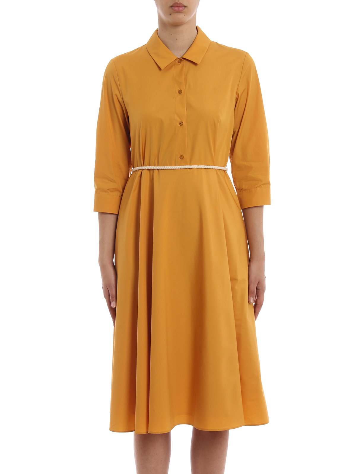 max mara - knielanges kleid - gelb - knielange kleider