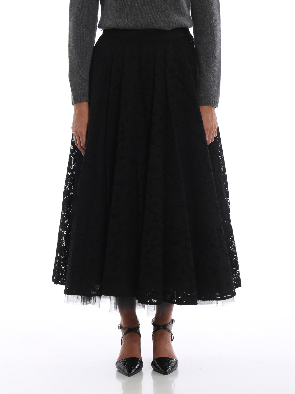 4cbb2653a4 iKRIX Max Mara: Long skirts - Marilyn black lace and tulle midi skirt