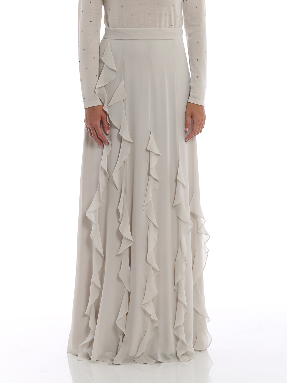 707f1a846 iKRIX Max Mara: Long skirts - Serafin frilled silk long skirt