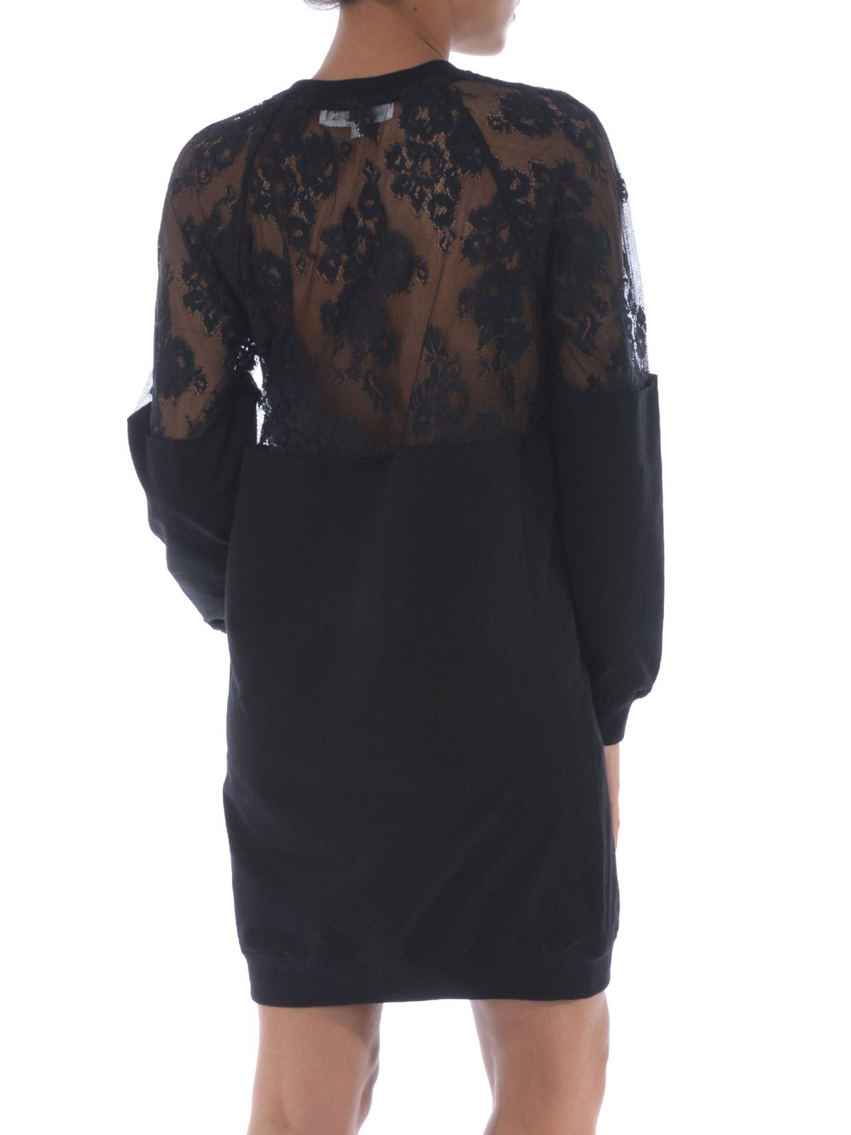 big sale 8015f e8439 Mcq - Abito nero in stile felpa con pizzo - abiti corti ...