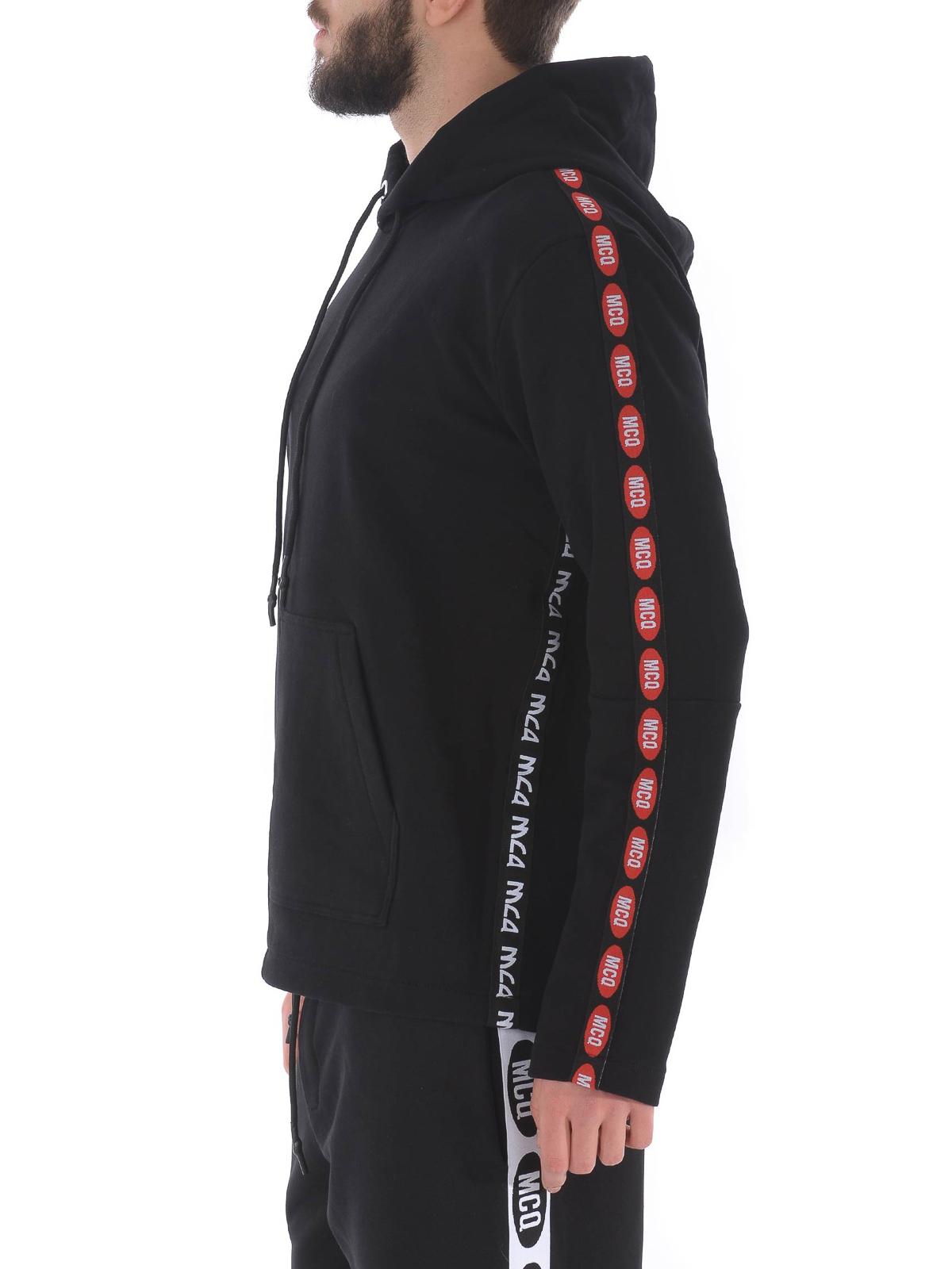 Mcq Felpa in cotone nero con bande logate Felpe e maglie