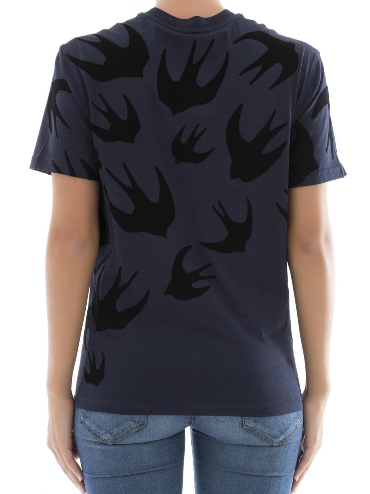 Mcq Velvet Swallow Pattern T Shirt T Shirts 318978rit774004