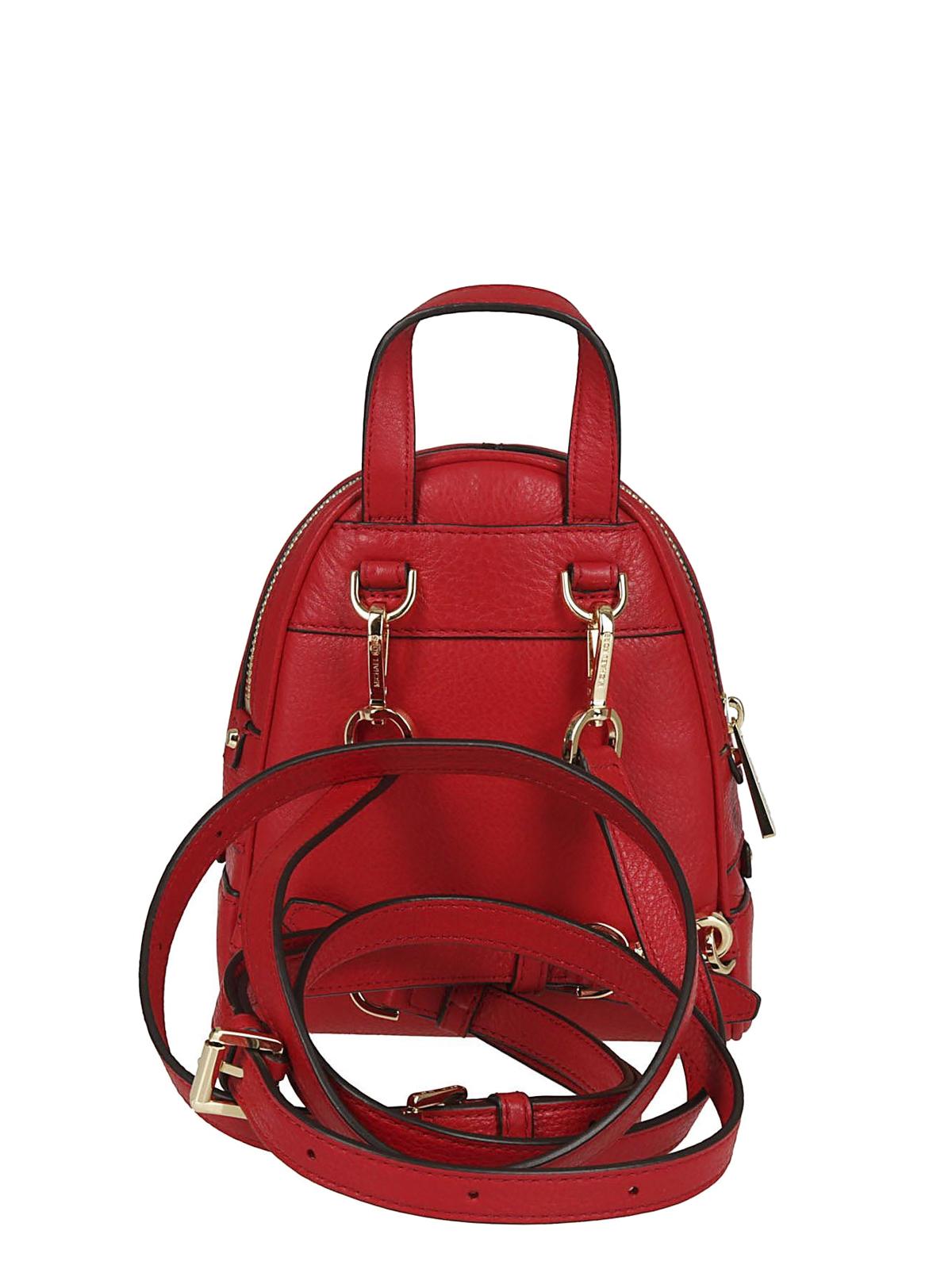 Michael Kors Rhea Mini Red Leather Backpack Backpacks
