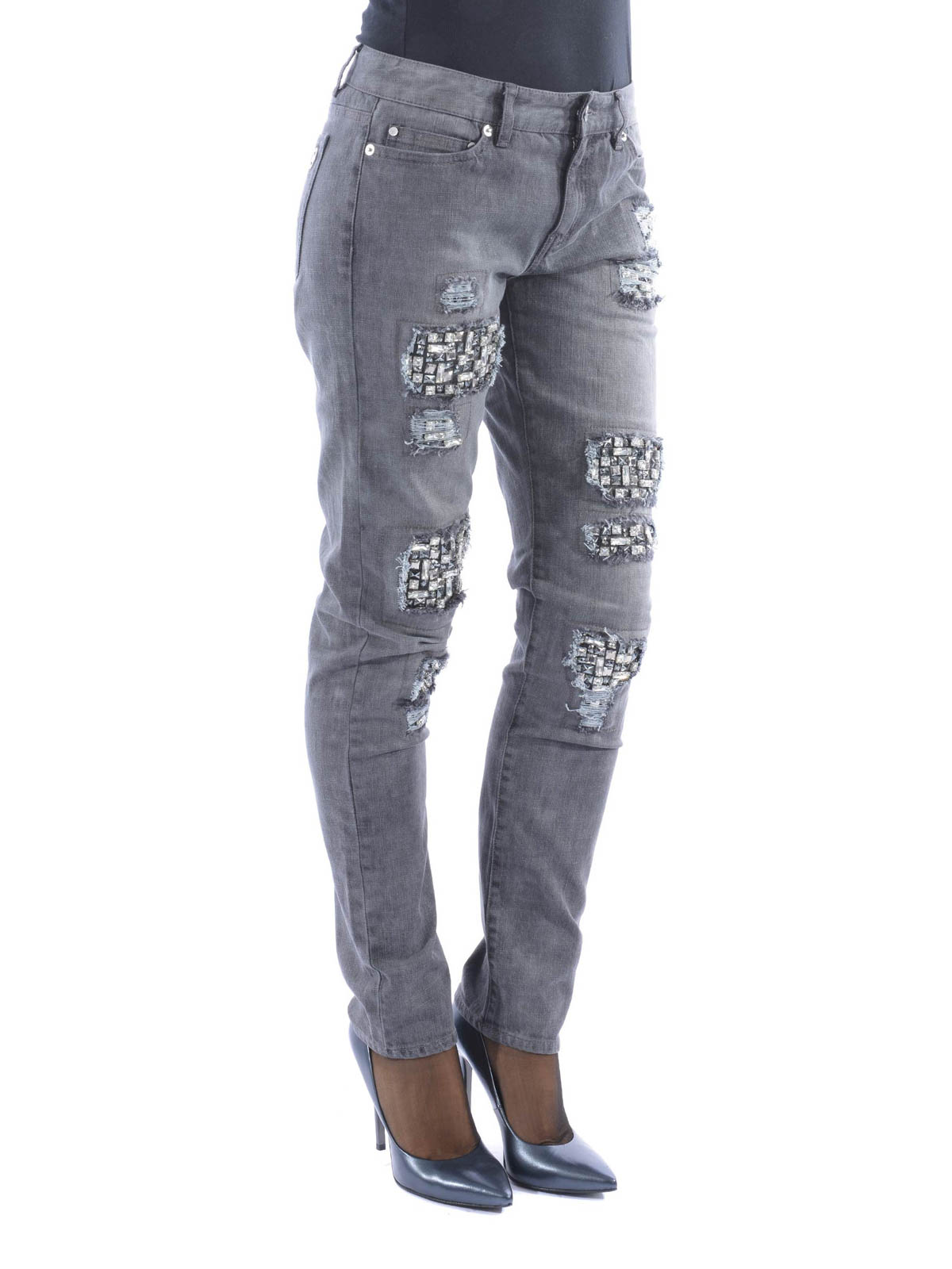crystal embellished boyfriend jeans by michael kors boyfriend ikrix. Black Bedroom Furniture Sets. Home Design Ideas